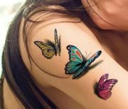 3- butterflies tattoo beauty