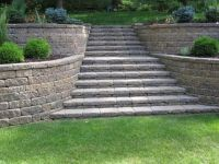 tiered retaining wall with curves and stairs   outdoors ...