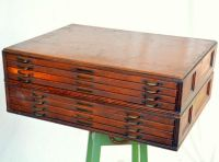 Modular Antique Wooden Flat File / Map Cabinet: Large ...