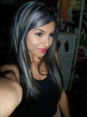 dark hair grey highlights