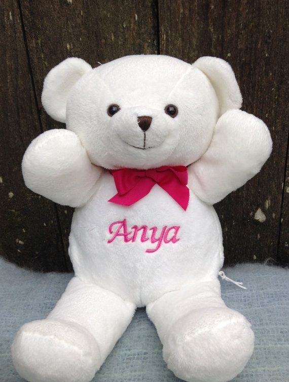 Personalized Baby Gift White Teddy Bear By