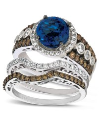 Le Vian 14k White Gold Diamond and Blue Topaz Stackable