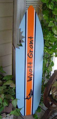 4FT PERSONALIZED SHARK SURFBOARD. Kids Wall art Beach Sign ...