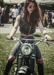 moto girl leather vest ripped