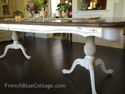 Double pedestal table finished with milk paint and chalk paint by French Blue Cottage