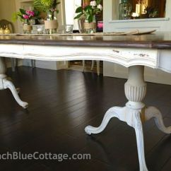 White Dining Room Table And 6 Chairs Swedish Design Lounge Double Pedestal Finished With Milk Paint Chalk By French Blue Cottage ...