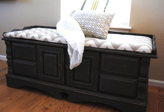 sofa redo italia chesterfield restoration hardware hand painted black cedar chest and bench by joyfulfunk on ...