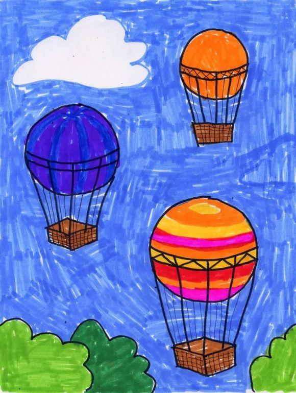Hot Air Balloon Drawing | Drawing art, Air balloon and Kid