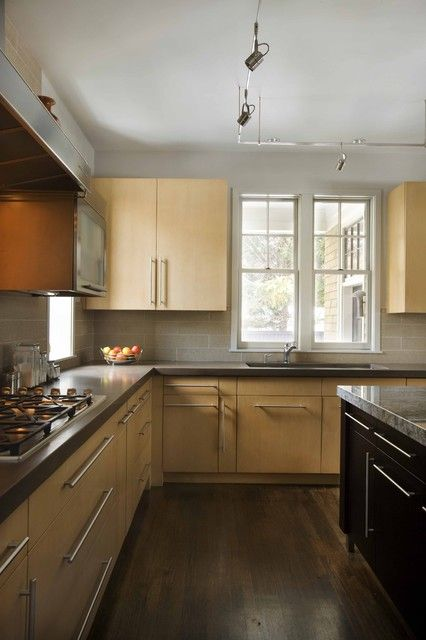 Kitchen Blonde Cabinets Grey Counter Tops Dream Home