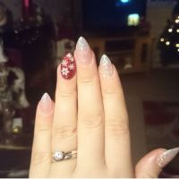 White red glitter stiletto acrylic winter Christmas nails ...