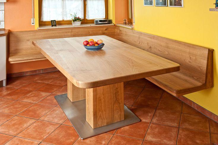 Eckbank mit Tisch aus Kirschbaum Massivholz gelt Bank frei an der Wand hngend  Eckbnke