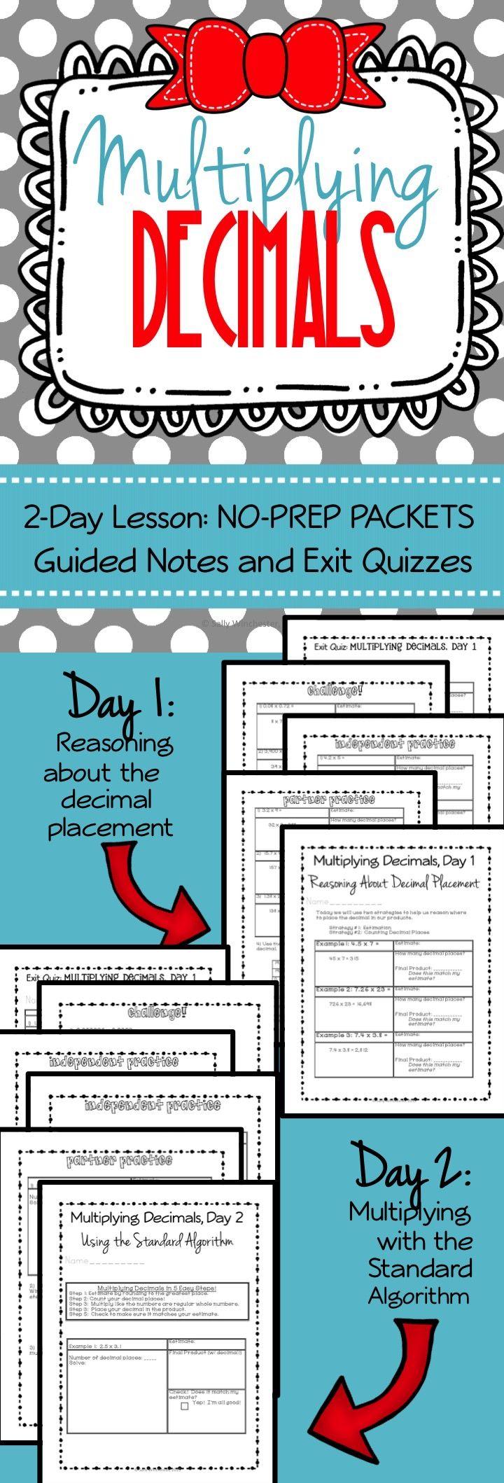 Multiplying Decimals 5 Nbt 7 Two Day Lesson No Prep