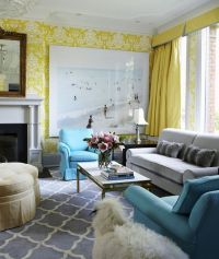 coral yellow green with gray couch | yellow damask ...