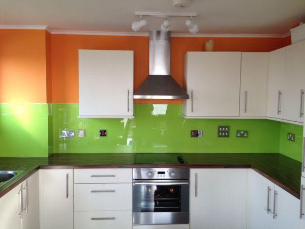 orange and green kitchen decor Orange & Lime Green Kitchen Glass Splashback by CreoGlass