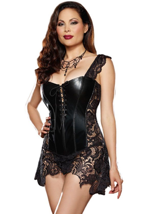 Black Leather and Lace Plus Size Corset leather bbw