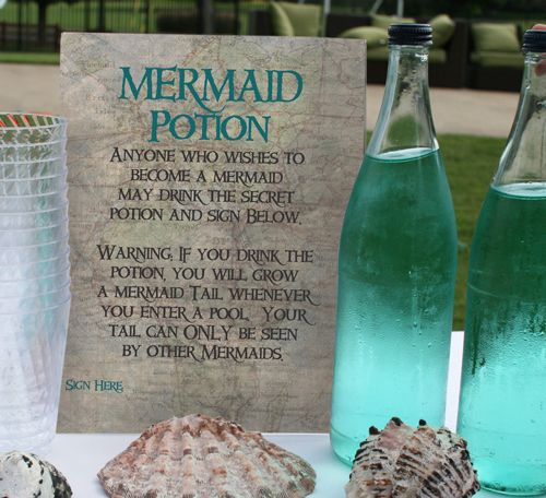 Mermaid Potion:  This make-believe game has each girl at the party signs a contract that they are willing to become a mermaid.  They all drink the magic potion, and them jump in the pool together.