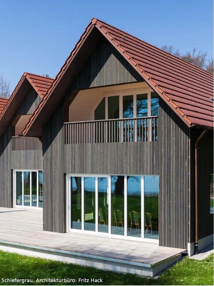 vorvergraute Holzfassade  Produkt Dura Patina Rechteckleiste Schiefergrau  graue Fassade