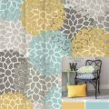 Shower curtain in yellow blue gray floral standard and extra long