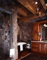 The shower is constructed from Tennessee natural stone ...
