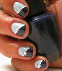 Two-tone color with star decal...cute! | Nail Art ...