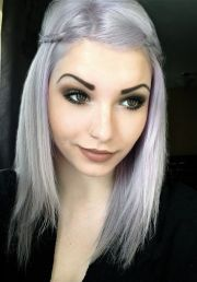 young women with gray hair violet-silver