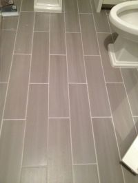 Guest bath plank style floor tiles in gray. | Sarah ...