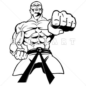 Sports Clipart Image of Black White Martial Arts Man