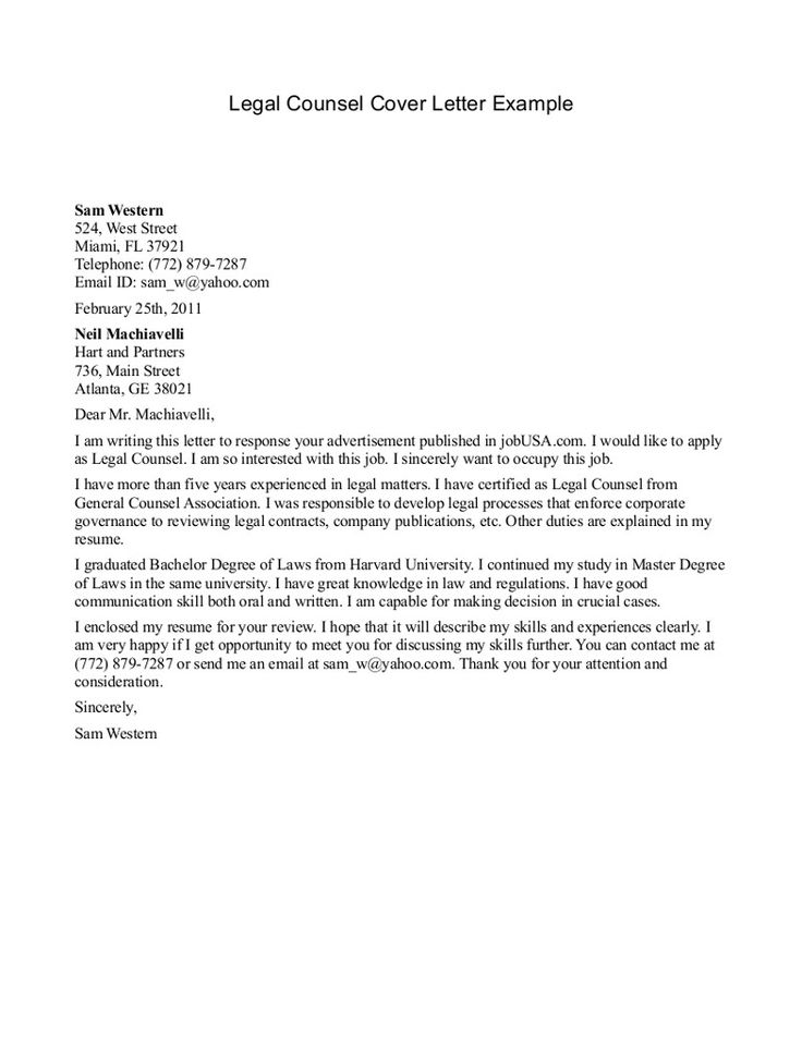 LEGAL COVER LETTER  Template Areas  sample legal letters  Real State  Pinterest  Legal