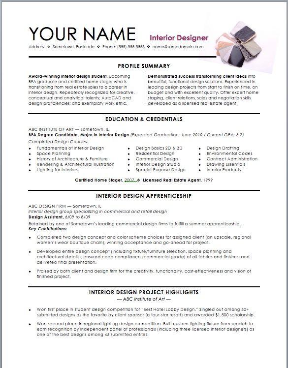 Interior Design Assistant Resume