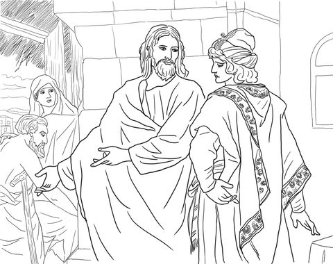 Jesus and the Rich Young Man coloring page from Misc