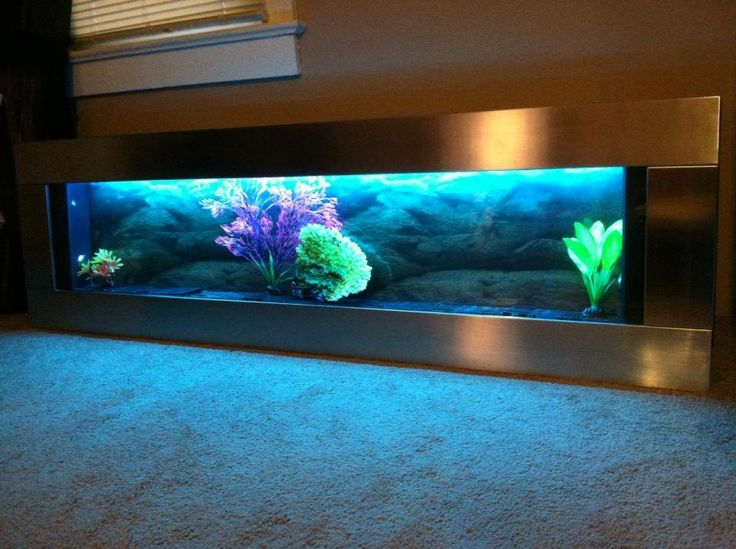 panoramic silver stainless steel 60x18 wall aquarium color lights remote control  Christmas