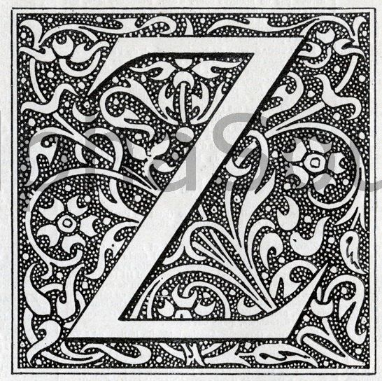 Illuminated Letter Z INSTANT DOWNLOAD French Letter Z