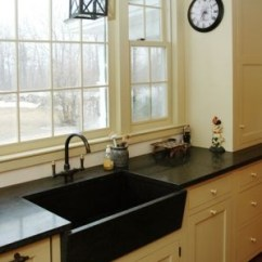 Country Kitchen Sinks Under Cabinet Shelving Ray And Pat Like This - Cream Cabinets With Black Hardware ...