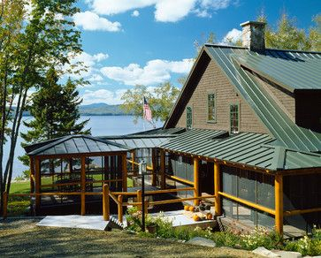 Green Metal Roof With Deep Weathered Wood Grey Color