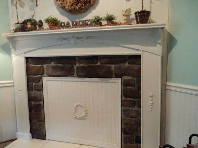 DIY beadboard cover the fireplace for spring & summer