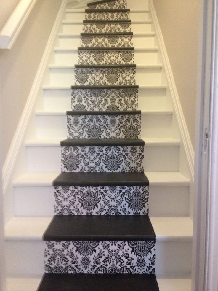 carpet for living room theaters menu portland wallpaper and painted stairs | pinterest ...