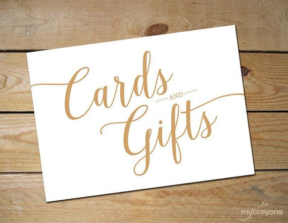 Bella Script Cards and Gifts Sign  Printable Wedding Sign Card Sign Wedding  Caramel Gold
