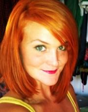 shoulder length copper red straight