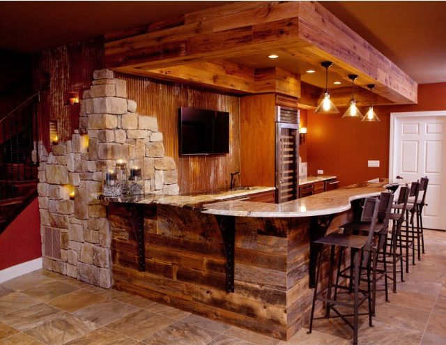 Rustic Finished Basement  Bar  Man cave  Pinterest  Bar Rustic and Ceilings