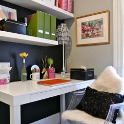 Black Parsons Chair Pink Christmas Covers Madebygirl: Anya Kucheryavenko, Small Office Defined By Navy Wall Behind Shelves, Darling ...