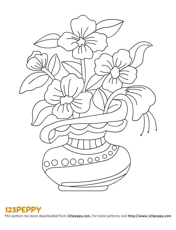 Flowers vase, Pattern flower and Vase on Pinterest