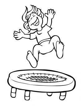 Kid Jumping On The Trampoline Coloring Page Super