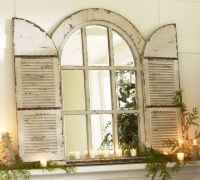 Antique Window Pane Mirror | Pottery Barn Arched Door ...