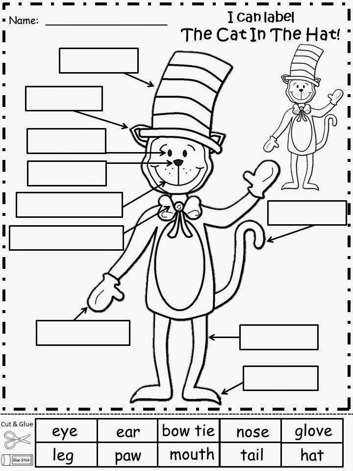 Free: The Cat In The Hat Labeling Activity. Cut and glue