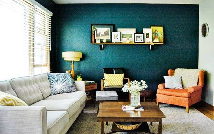 Living Room Paint Ideas With Accent Wall Ottoman As Coffee