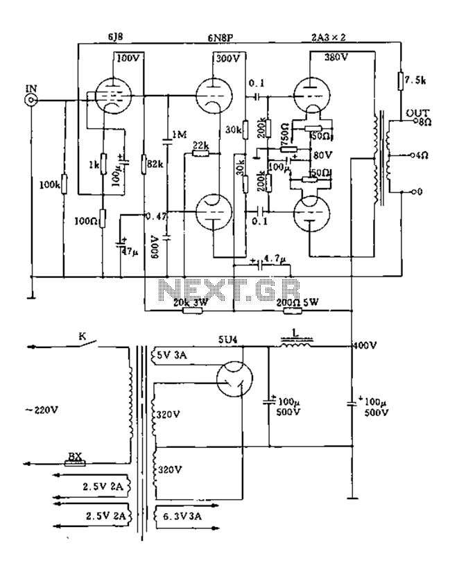 Class pushpull tube power amplifier circuit diagram 2A3A