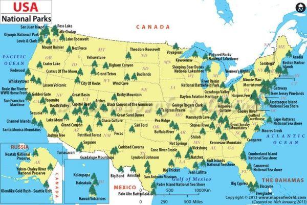 USA National Parks Map US National Parks Travel