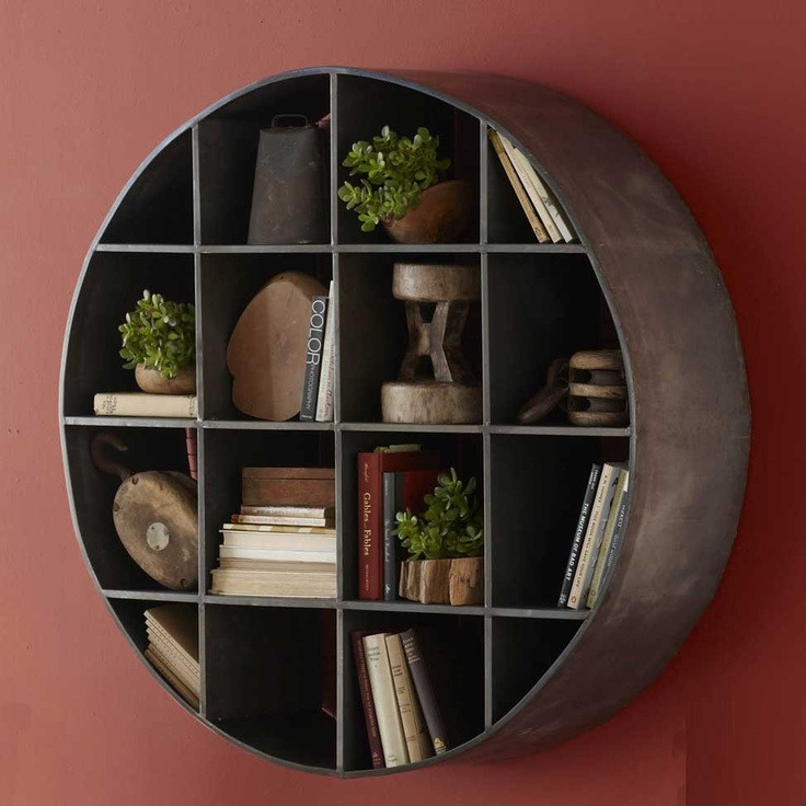 Round metal wall mount shelves