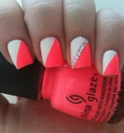 neon pink orange nails with white
