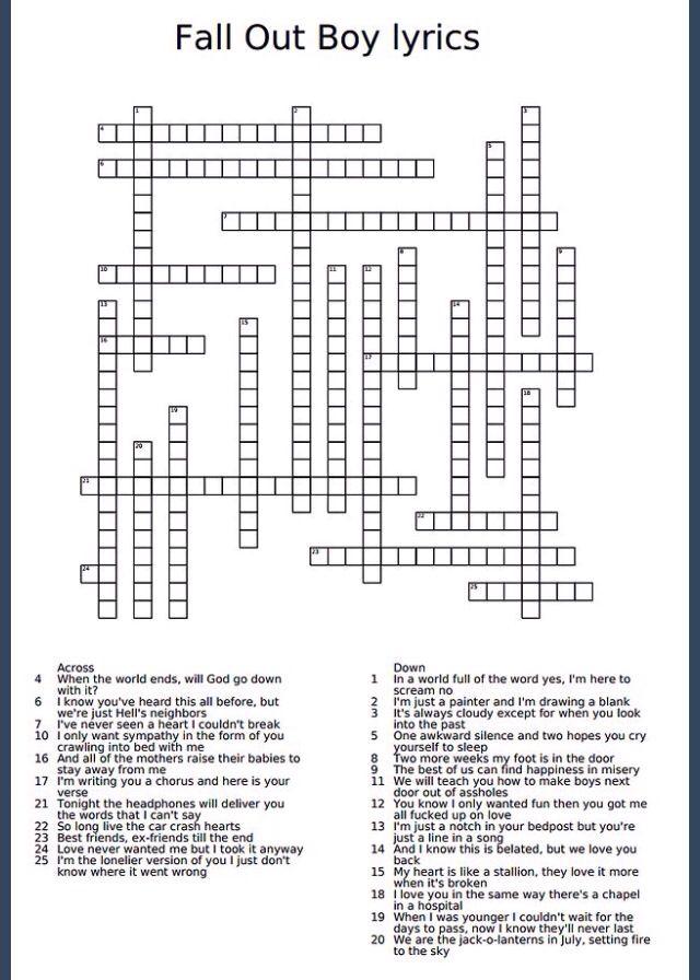 Fall Out Boy lyrics crossword puzzle. Yay, I finished the